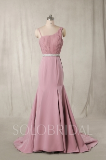 Blush Pink Bridemaid Dresses with Train 724A6416s
