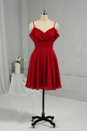 Burgundy Knee Length Chiffon Bridemaid Dress DPP_1957