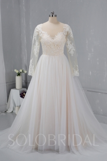 Champagne color Wedding Dress Tulle Skirt 724A2081a