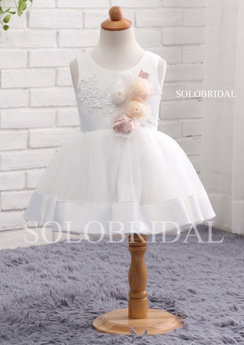 White ball gown flower girl dress A11810