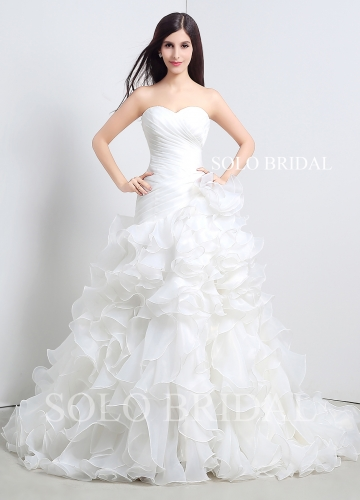 Ivory sweetheart strapless organza ruffle a line lace up court train wedding dress A36110