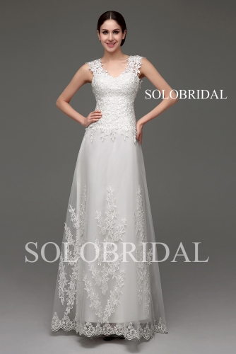 Ivory lace small a line wedding dress tulle train B30234