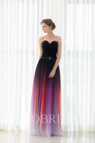 Sweetheart strapless black and red gradient color lace up chiffon bridesmaid dress D182841