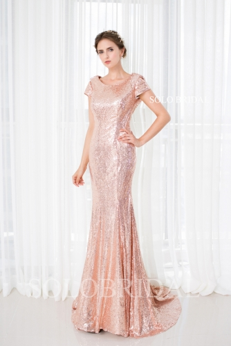 Blush pink sequin short sleeves fit and flare sweep train bridesmaid dress D182861