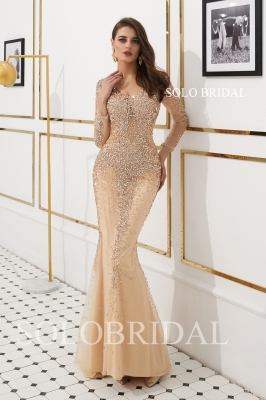 Champagne diamond fit and flare proom dress L906921