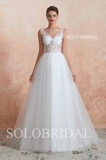 Ivory simple cheap a line wedding dress N283711