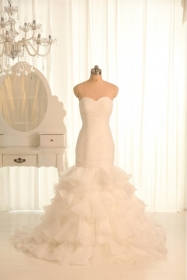 Ruffles Organza Wedding Dresses, Sheath Column Bridal Dress Ivory Color Whilte Wedding Dress