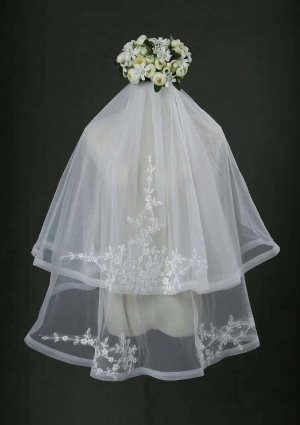 Finger Tip Length Veil Two Tiers Veils V-035