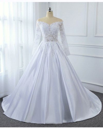 A Line Satin Transparent Sexy Lace Bodice with Long Sleeve Off Shoulder White Bridal Gown 5U7A2809