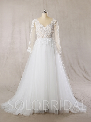 Ivory Tulle Skirt Skin Color Sexy Bodice A Line Wedding Dress 724A7247s