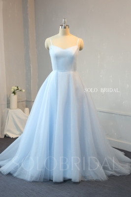 A Line Baby Blue Satin and Shiny Tulle Proom Dress 724A9602