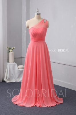 One shoulder watermelon red chiffon bridesmaid dress 724A9981