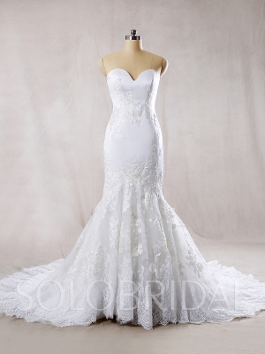 White Strapless Mermaid Dress Cathedral Train 2019 New Lace 724A7854s