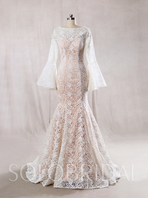 Ivory Lace with Blush Lining Wedding Dress Long Bell Sleeves Mermaid Dress 724A7814s