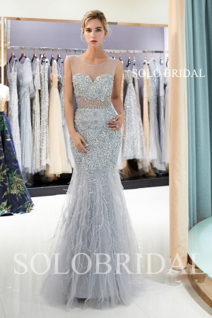 Grey fit and flare heavy beadwork proom dress J946961