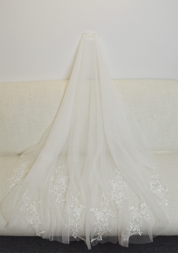 Elbow Length Veil with Beadings and Lace
