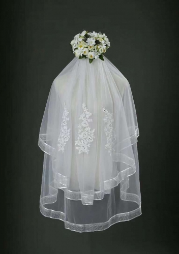 Finger Tip Length Veil Two Tiers Veils V-032