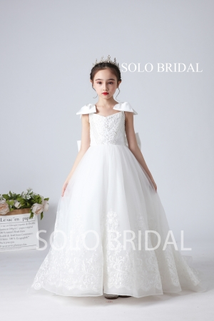 white beading lace bow flower girl dress sweep train slt007