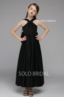 black satin a line flower girl dress with bows 5D7A6624