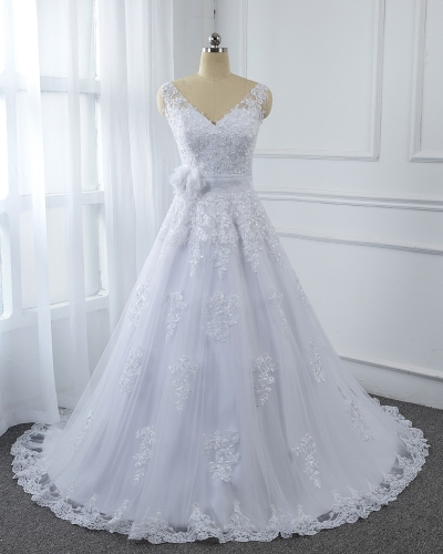 White Lace A Line with Tulle flower Belt Wedding dress sequined dresses 5U7A2603