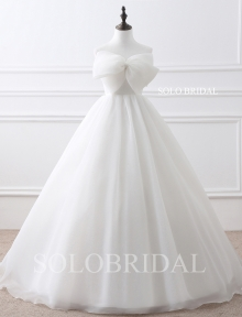 Ivory a line strapless lace up bow organza floor length wedding dress E224081