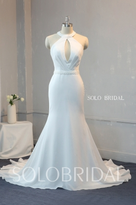 Ivory crystals beaded halter fit and flare chiffon wedding dress 724A0016
