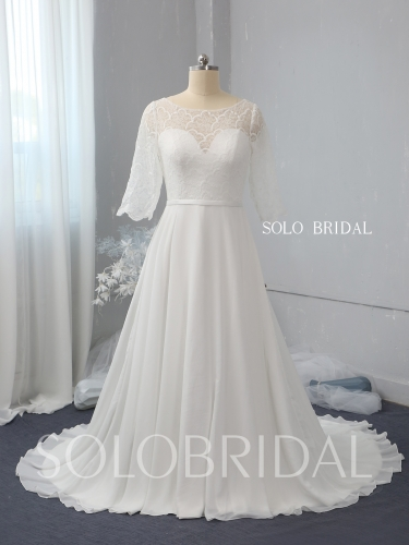 Ivory a line chiffon wedding dress 724A2481