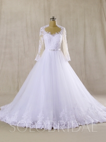 Skin color tulle bodice with long sleeve A Line Wedding Dress sewn Hemlace 724A7358s
