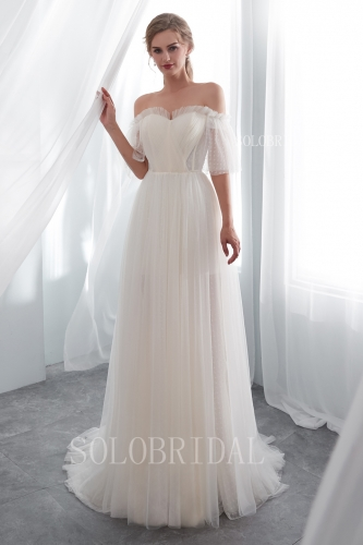 ivory pleated dot tulle wedding dress I226621