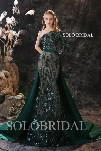 Dark green fit and flare shiny proom dress R295581