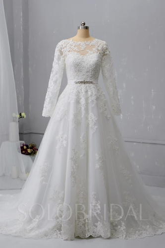 A Line Long Sleeve Ivory Wedding Dress Court Train New Lace 724A1359a