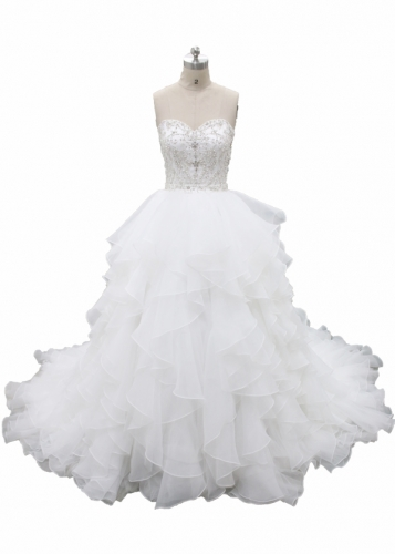 Full beaded bodice Ruffle Skirt Ball Gown Dress