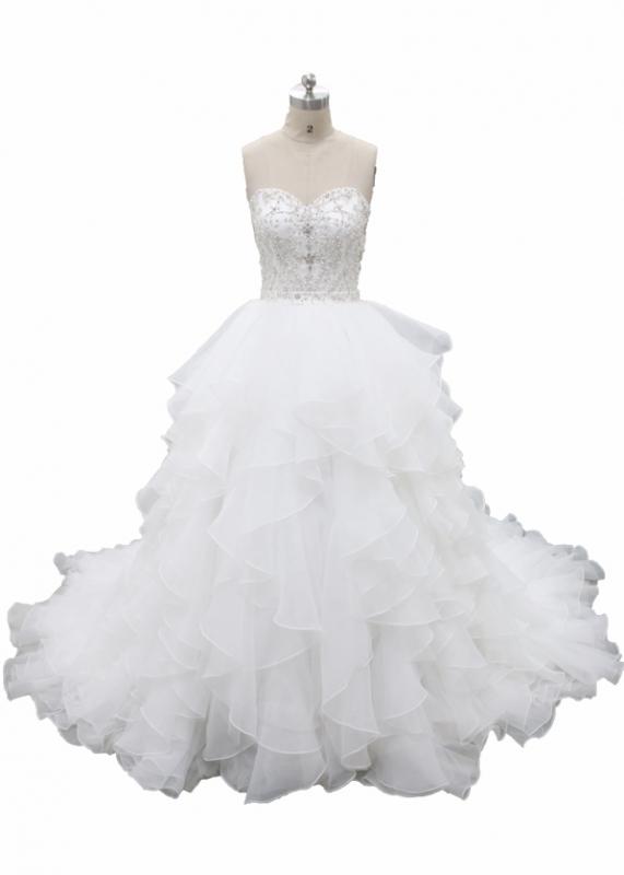 Full Beaded Bodice Ruffle Skirt Ball Gown Dress Fb 038 Hot Wedding Dresses