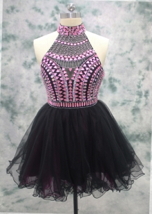 Pink Crystals with Black Ruffle Skirt Cocktail Dress Short Party Dress