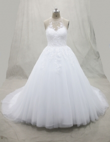 White Ball Gown Hater Wedding Dress