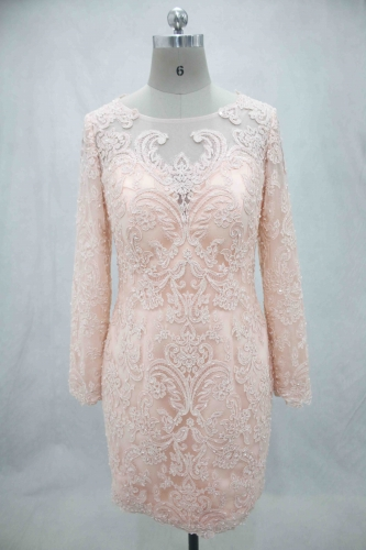 Knee Length Long Sleeve Mother of Bride Dress