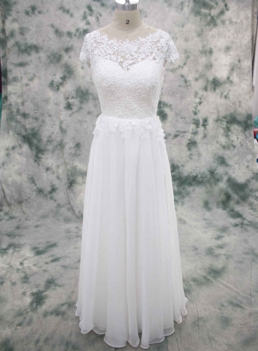 Short lace bodice with Chiffon SKirt Small Flowy skirt Wedding Dress