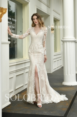 Ivory split fit and flare wedding dress P473941