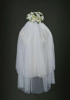 Finger Tip Length Veil Two Tiers Veils V-034