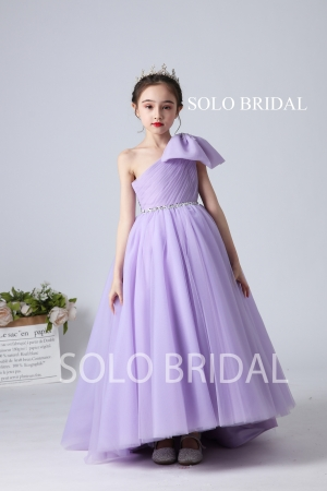 purple tulle one shoulder bow flower girl dress sweep train slt006