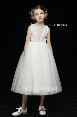 ivory a line tea length flower girl dress 5D7A3254