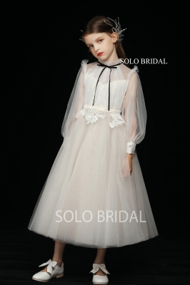 ivory long sleeve a line pleated tulle flower girl dress 5D7A3426