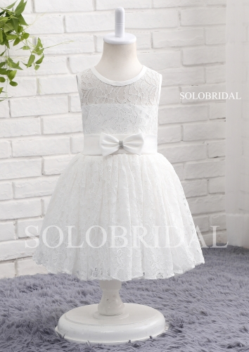 White lace flower girl dress A14807