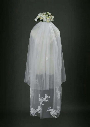 Finger Tip Length Veil Two Tiers Veils V-031