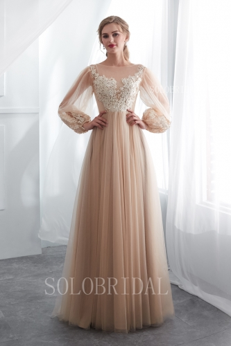 champagne lace tulle fair lady proom dress I226581