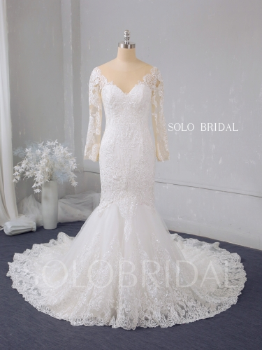 Ivory lace mermaid shiny wedding dress 724A2848