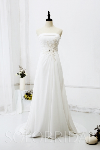 Ivory Strapless Small A Line Chiffon Wedding Dress 724A9300a