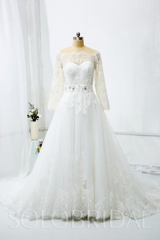 Off Shoulder Long Sleeves A Line Wedding Dress With Beaded Belt 724a9454a 724a9454a A Line Wedding Dresses,Wedding Long Purple Bridesmaid Dresses