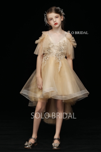 gold tulle high low flower girl dress 5D7A4747
