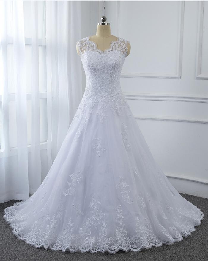 White Sheath Column Sequin Appliqued Lace Dress Long